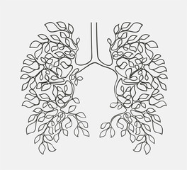 Healthy lungs concept vector.Fresh clean air ecology concept illustration. Tree branches like a respiratory system.