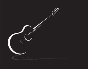 Guitar stylized icon vector. Simple lines acoustic guitar  design element.