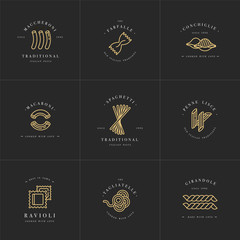 Vector set of logo design templates and emblems or badges. Italian pasta - noodle, macaroni. Linear logos.