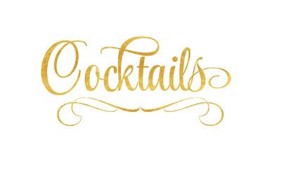 Cocktails - Schriftzug in Gold