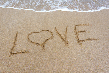 The word love in the sand on the beach.