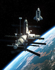 Fotobehang - Space Station And Space Shuttle In Outer Space