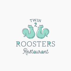 Roosters Restaurant Abstract Vector Sign, Symbol or Logo Template. Flat Style Rooster Twins with Retro Typography. Vintage Luxury Vector Emblem.