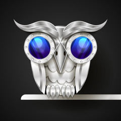 Vector hand drawn mechanical owl.