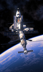 Fotobehang - Space Shuttle And Space Station Orbiting Earth