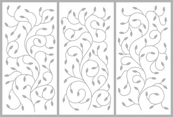 Flower ornament for a cabinet, partitions, doors, furniture. Twisting branches and leaves. Vector drawing