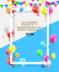 Happy Birthday Greeting Card with colorful balloons and confetti.