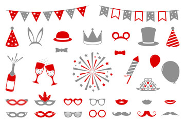 Collection of party and photobooth icons. Vector.
