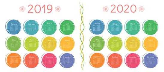 2019, 2020 calendar set. Color, round, pocket. Week starts on Sunday