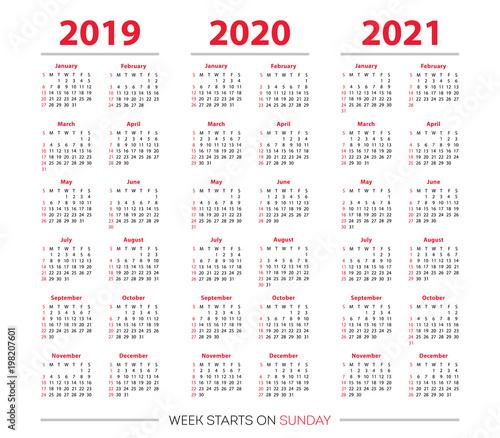 Calendar With Week Numbers 2020.2019 2020 2021 Calendar Set Simple Black And Red Grid Week