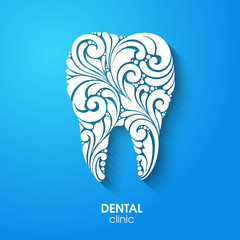 Abstract teeth silhouette. Ornate floral white tooth symbol on blue background. Medical dentist dental clinic sign icon logo.
