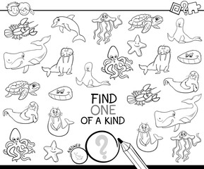 one of a kind game with marine animals color book