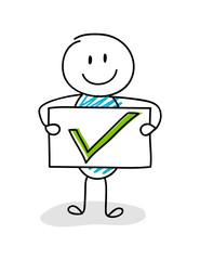 Conceptual image with cartoon stickman showing check mark icon. Vector.