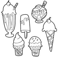 Ice Cream Cartoon Set Black and White