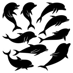 Set of black dolphins on a white background.