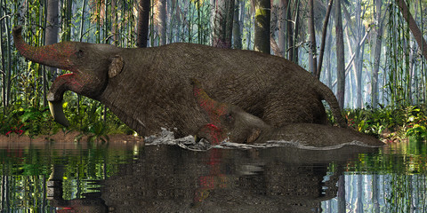Deinotherium Mother and Calf - A Deinotherium calf tries to keep up with his mother in a jungle river in the Pleistocene Period.