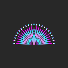Peacock bird logo gradient color, beautiful bird with a fluffy tail