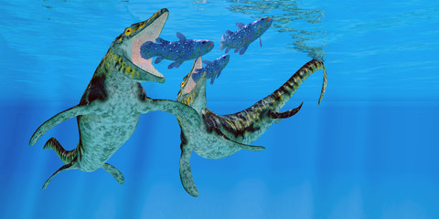 Tylosaurus Marine Reptiles - Coelacanth fish become prey to a pair of Tylosaurus marine reptiles in the Western Interior Seaway of North America.