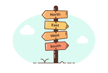 Wooden direction signposts pointing towards four directions. North, east, west, south. Vector illustration design