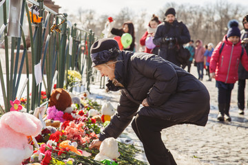 Mourning for the victims of the fire in the city of Kemerovo.