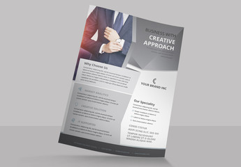 Business Flyer Layout with Geometric Elements