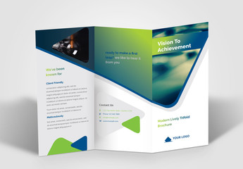 Trifold Brochure Layout with Blue and Green Gradient