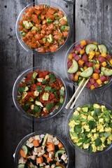 Variety of five fresh salads