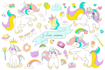 Set of cute unicorns. Vector collection of magical unicorns and symbols.