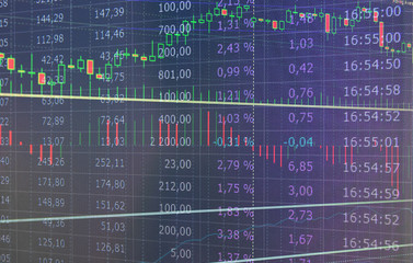 Stock Market Trading Graph and Candlestick Chart Suitable for Financial Investment Concept. Abstract Finance Background.