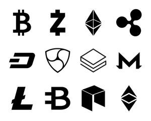 Cryptocurrency Logo Set.
