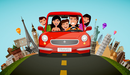 Happy family rides in car on vacation. Journey, travel concept. Cartoon vector illustration