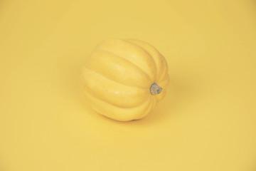 Yellow pumpkin on pastel yellow background.