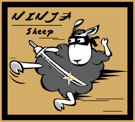 Cartoon ninja sheep with eye mask and sword in hand.Hot shot.Shooting.