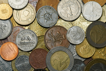 Money coins different countries with a lot of texture