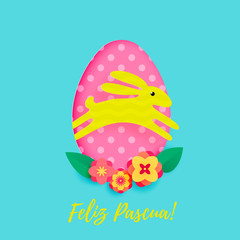 Spanish Happy Easter greeting card of egg with pattern and paper cut cartoon bunny on floral background. Vector Feliz Pascua. or Easter Hunt holiday poster