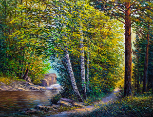 Oil Painting landscape - summer forest