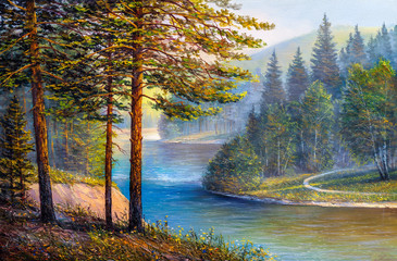 Landscape, mountain river.  Picture oil paints on a canvas.