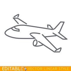 Large passenger plane flying. Editable line sketch icon. Stock vector illustration.