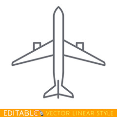 Top view airplane. Editable line sketch icon. Stock vector illustration.