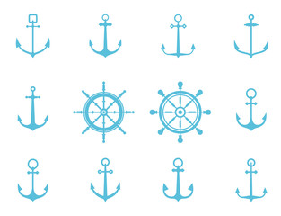 Anchor icons. Set of blue silhouettes.