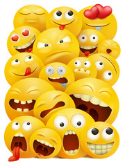 Smiley faces group of vector emoticon characters with funny facial expressions.