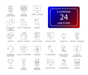 Line icons set. E-learning pack. Vector illustration