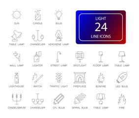 Line icons set. Light pack. Vector illustration