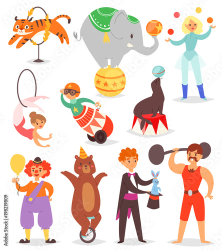 circus people vector acrobat and clown with trained animals