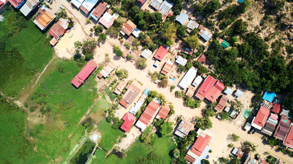 Aerial view of traditionnal village in Siem-Reap, Cambodia