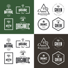 Organic natural and healthy farm fresh food retro emblem set