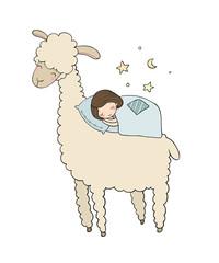 A sleeping girl and a cartoon lama. Good night.