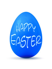 a blue easter egg and the text happy easter
