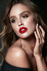 Beautiful Woman With Beauty Makeup And Hairstyle.