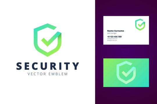Shield logo and business card template in modern gradient line style.